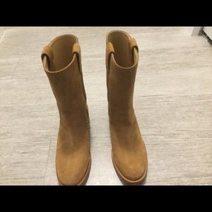 Authentic Chanel tan mid calf side boots size 8.5